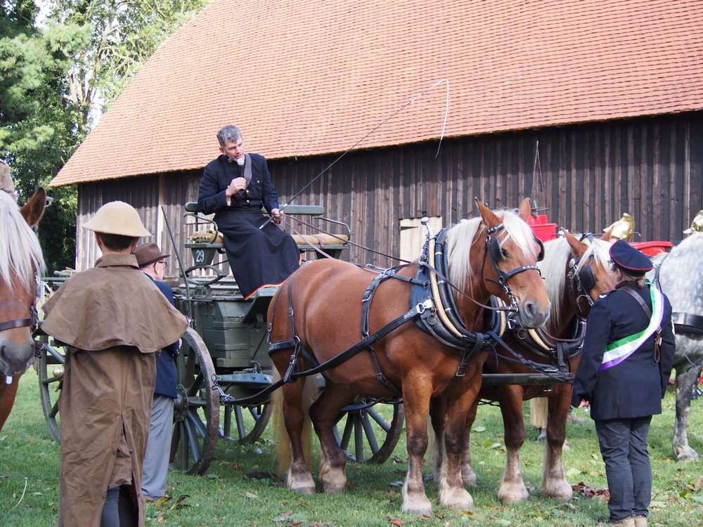 Behind the Great Barn was a display of World War I horse-drawn vehicles