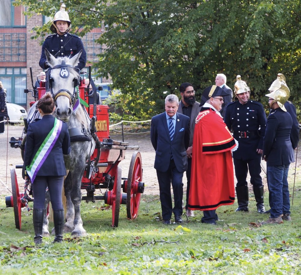 Council Leader Ray Puddifoot (centre) and Mayor John Morgan enjoyed the displays