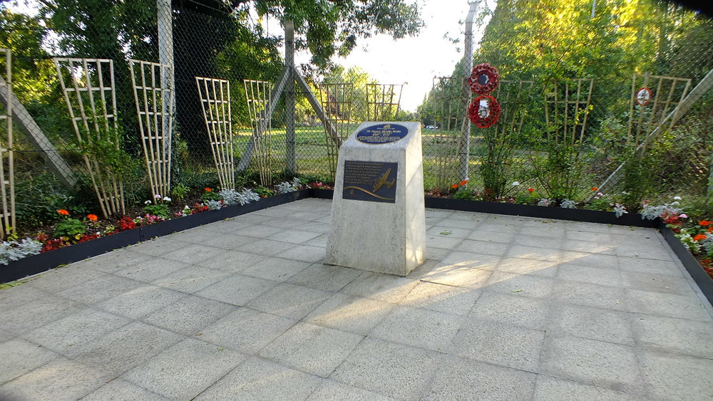 The Barnes Wallis memorial on the site of the testing tanks for the ingenious bouncing bomb used by The Dambusters in World War II aimed at bringing the war to a close
