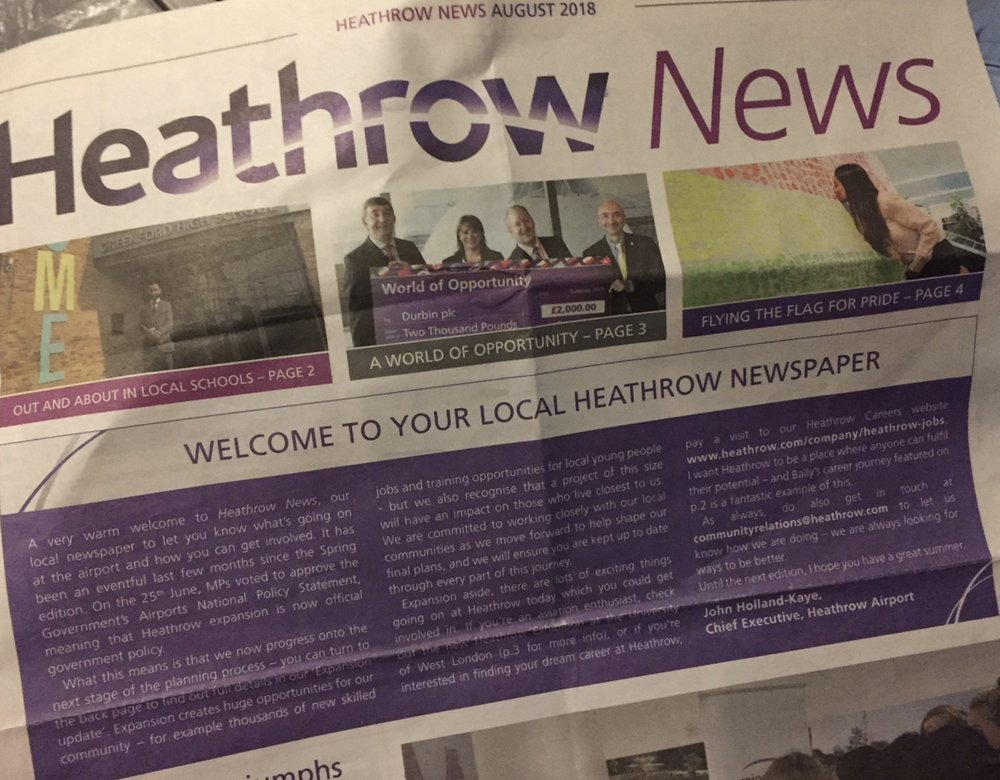 "Heathrow's ""newspaper"" gives the immediate impression that a third runway is a done deal"