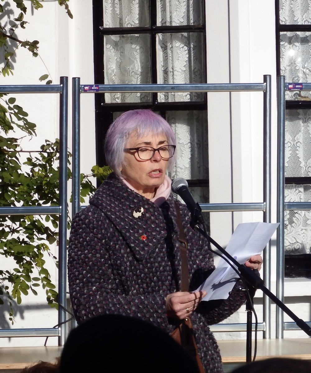 Jane Taylor, Chair of Harmondsworth and Sipson Residents' Association reads a poem