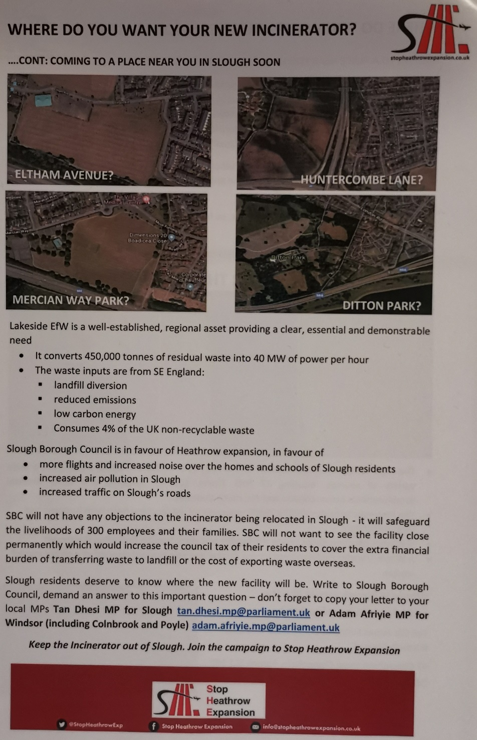 Leaflet given to Slough residents