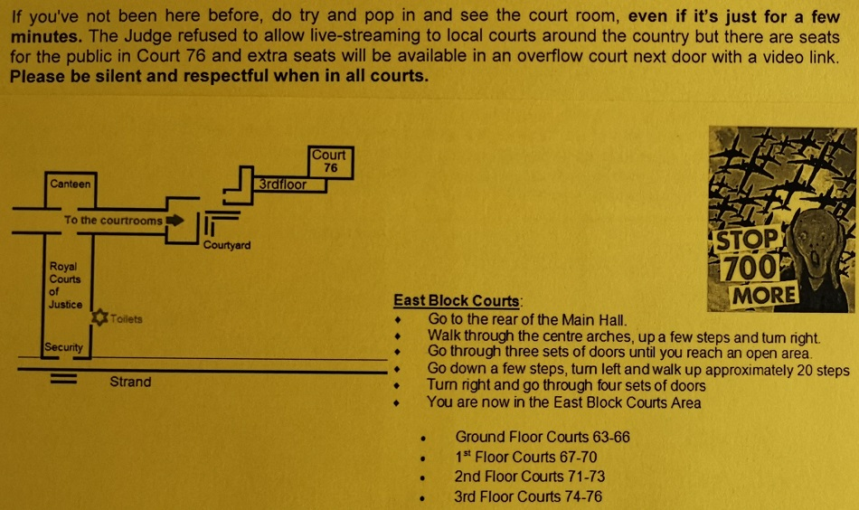Directions on how to find Court room 76
