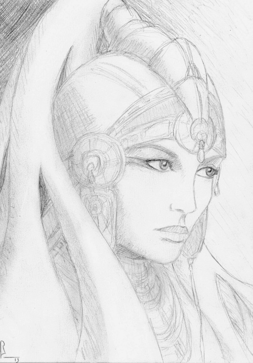 """ Hippolyta "", 60 min. sketch, black pencil on paper"