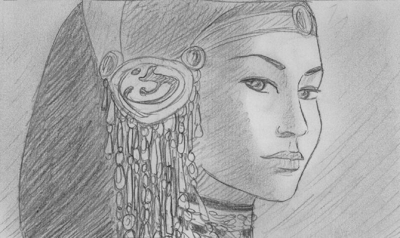 """ The princess far away "", black pencil on paper"