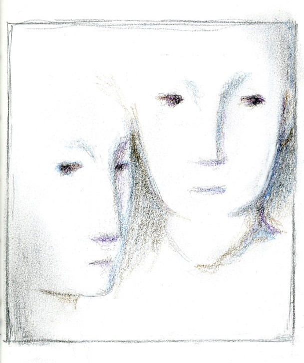 """"""" Two """", color pencil on paper"""