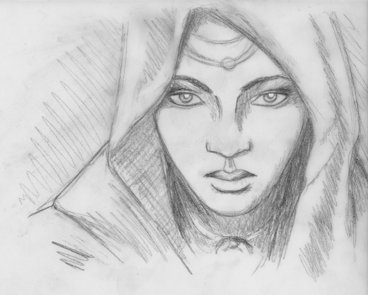 """ The sibyl of the South "", black pencil on tracing paper"