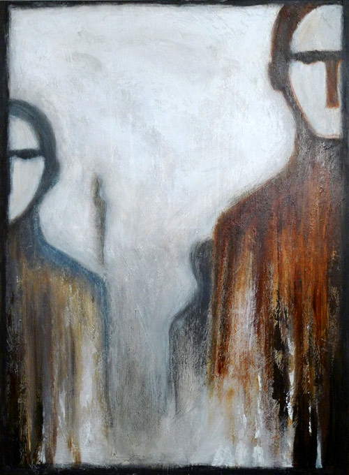 """ Right behind you! "", oil, charcoal and pastel on canvas"