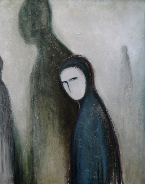 """ Who are you? "", oil and charcoal on canvas"