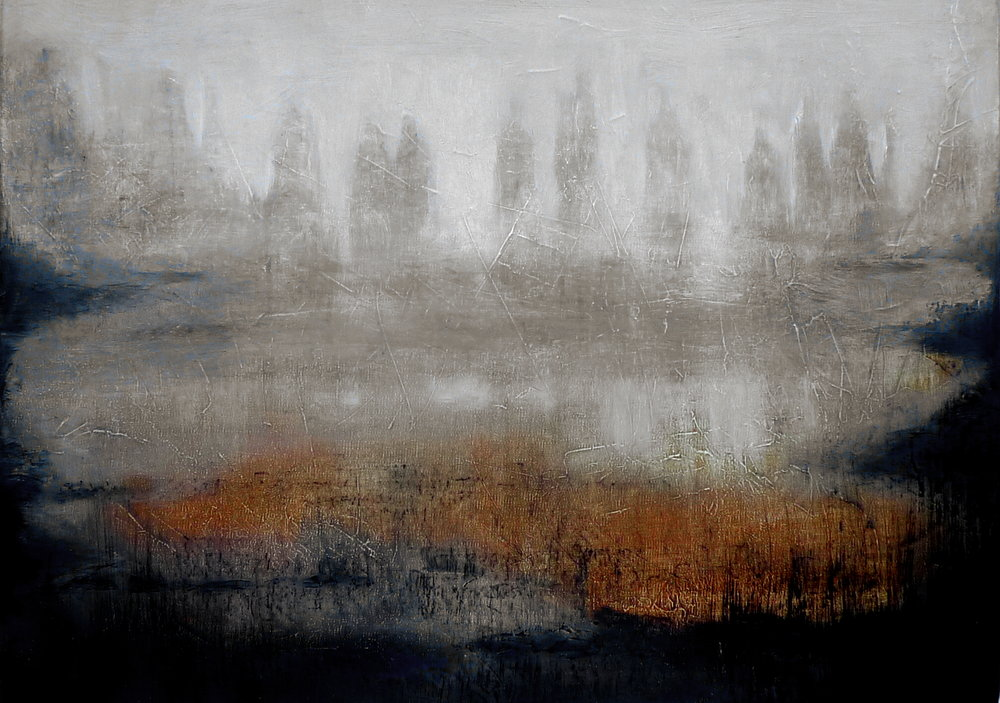 """ Entering the valley "", oil and charcoal on canvas, private collection"