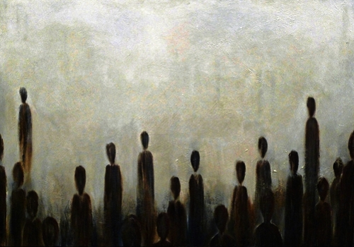 """ Gathering "", oil and charcoal on canvas"