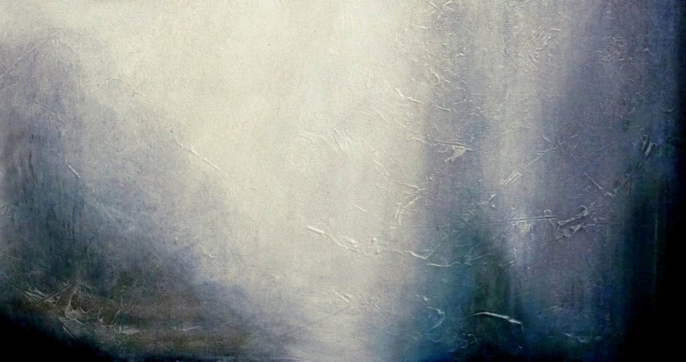 """ Morning mist "", oil and pigment on canvas, private collection"