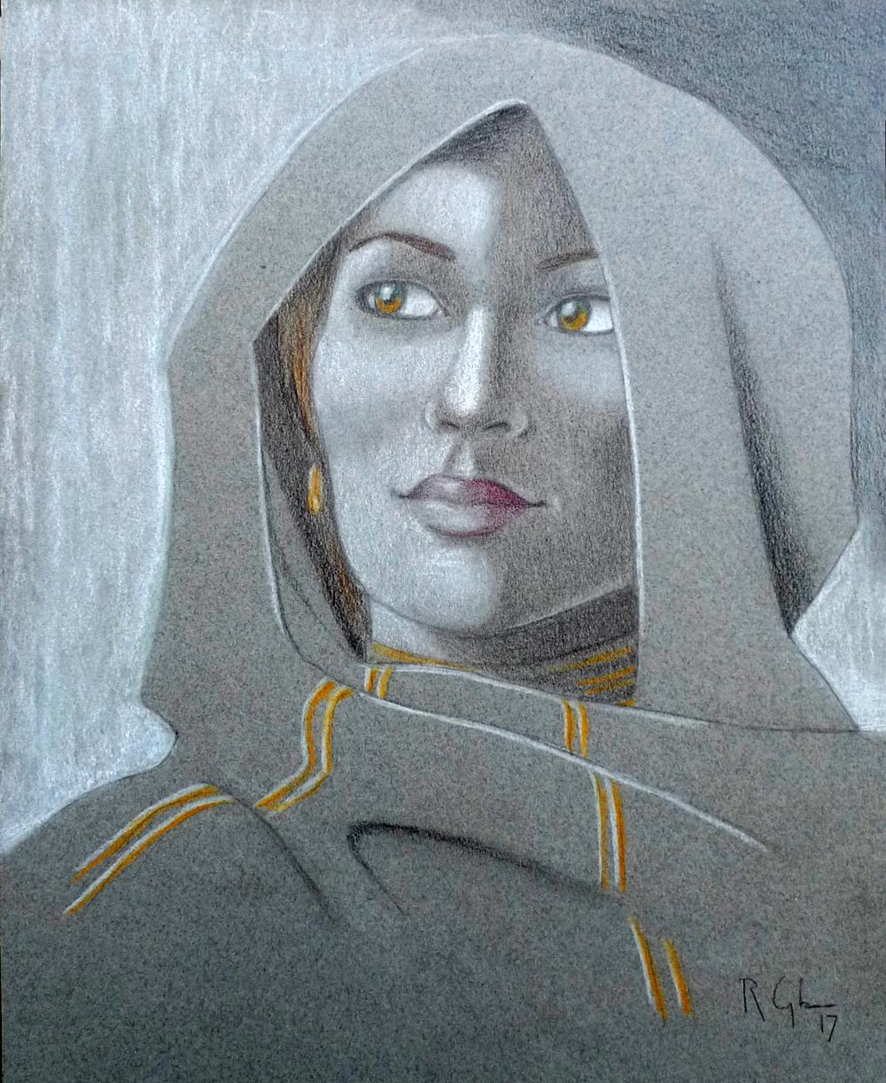 """""""La Sybille du futur"""", crayon noir, crayon de couleur et pastel sur papier"""