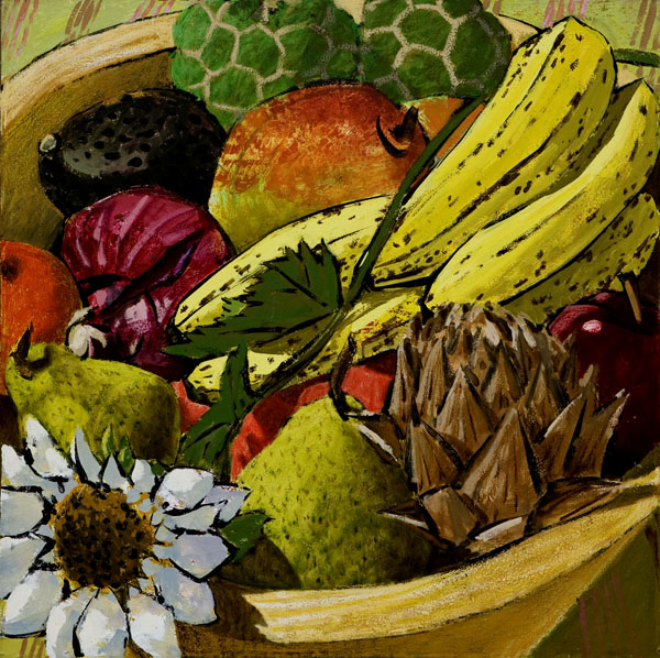 #217 BOWL OF FRUIT,SUNFLOWER AND ARTICHOKE, 1997