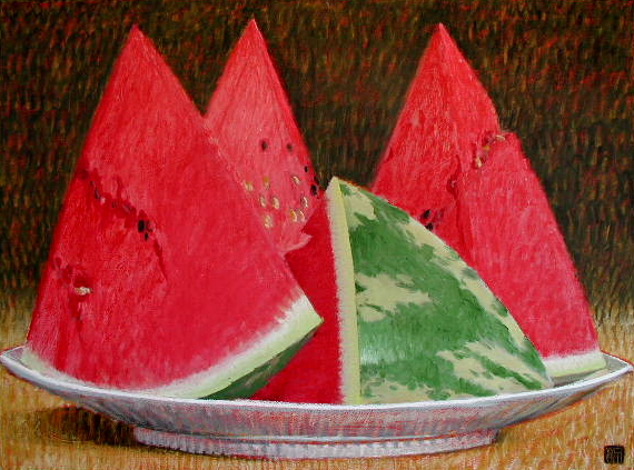#753 WATERMELONS (Three Peaks), 2004