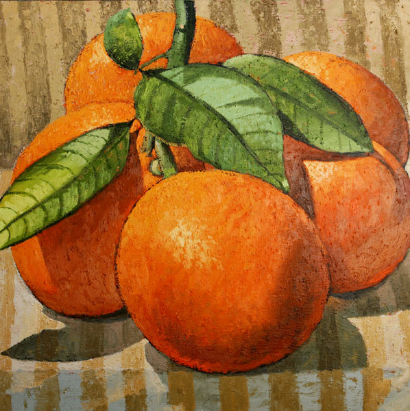 #1140 FIVE ORANGES ON STRIPED FABRIC, 2008