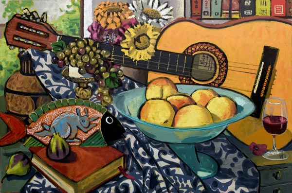#1345 STILL-LIFE WITH GUITAR AND SIX PEACHES, 2010