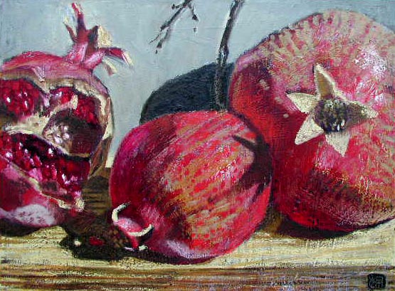 #422 THREE POMEGRANATES ON TABLE, 2002
