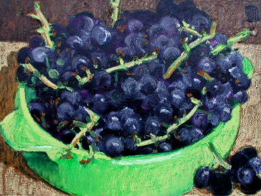 #325 GRAPES IN GREEN BOWL, 2002