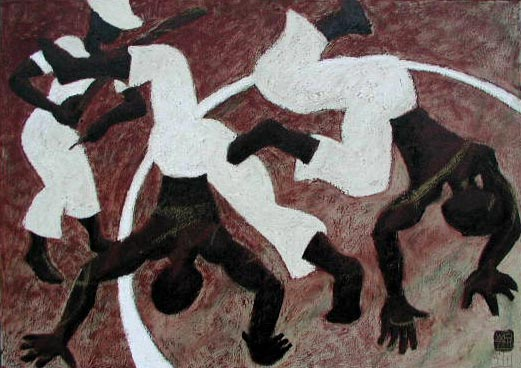 #741 CAPOEIRISTAS, BROWN AND WHITE, 1998