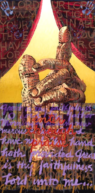 #477 ENTER THROUGH PRAISE, 1992 96 x 48 inches; oil and acrylic on canvas