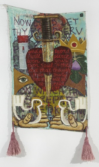 #613 THE PRESENT (For Mary), 2003 65 x 32.5 inches; oil and fiber tassles on canvas