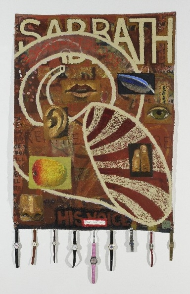 #615 SABBATH BANNER, 2004 54 x 35 inches; oil and acrylic with assorted watches on canvas