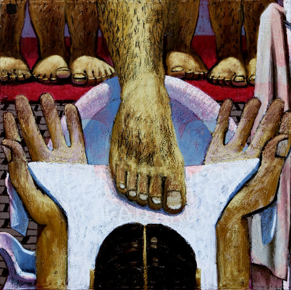 #616 NOT ONLY MY FEET, 2003 36 x 36 inches; oil on canvas