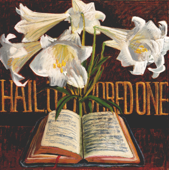 #968 HAIL, O FAVORED ONE, 2006 36 x 36 inches; oil and acrylic on canvas