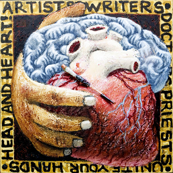 #1300 ARTISTS, WRITERS, DOCTORS, PRIESTS, 2003 36 x 36 inches; oil on canvas