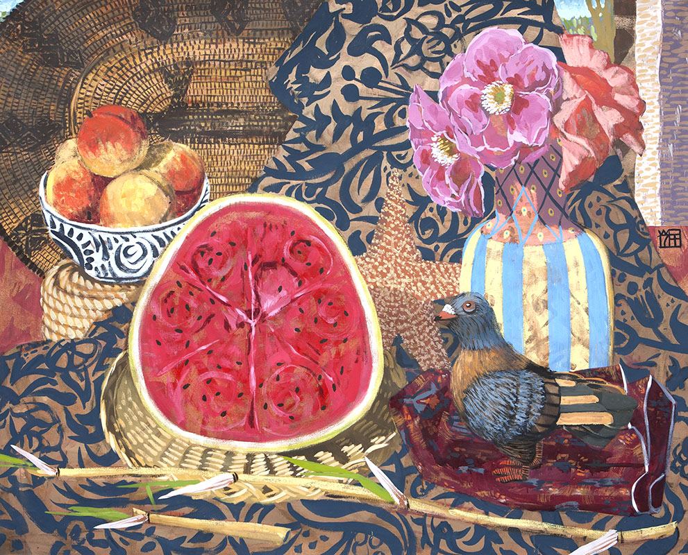 Stilli-life with Pigeon and Watermelon, 2017
