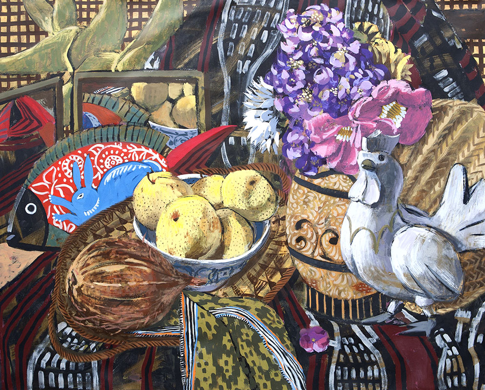 Still-life with Rooster, Asian Pears and Fish, 2017