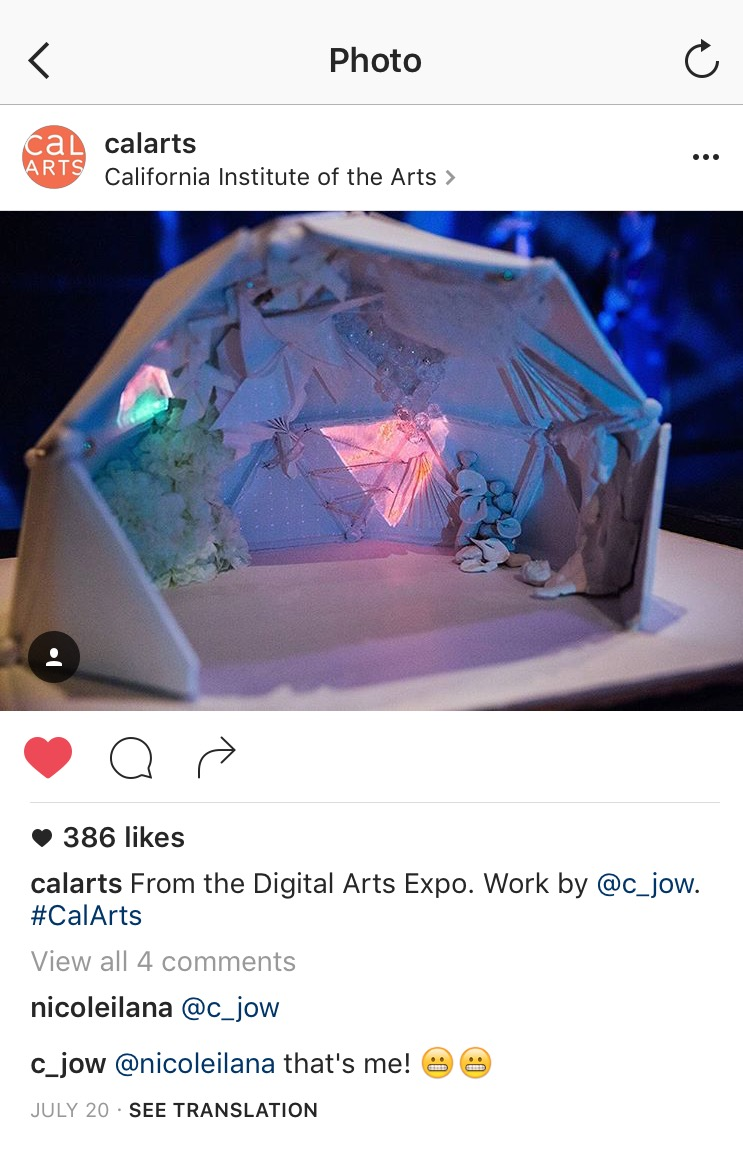 my Cosmic Dome project was featured on the CalArt's Instagram page