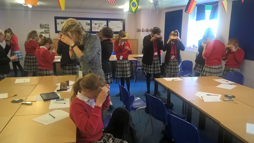 Use of Google Cardboard to experience Google Expeditions (photo courtesy: Dr Ana-Despina Tudor)