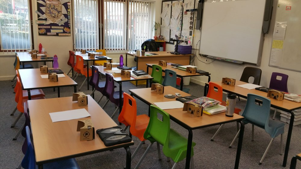 A class set up for a Computing lesson using Google Expeditions