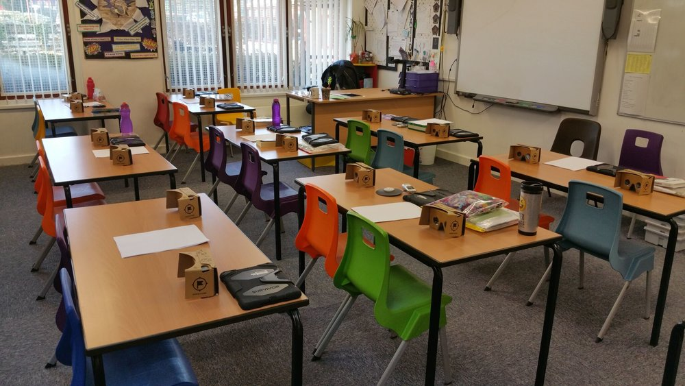 Class set up for a lesson using Google Expeditions