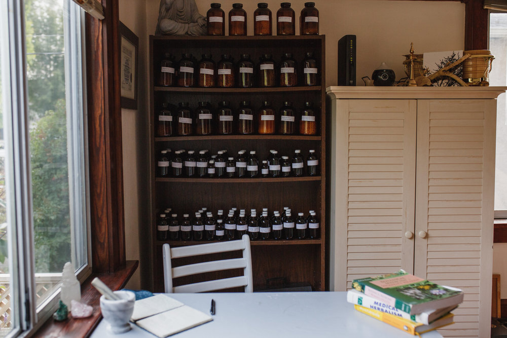 Herbal medicine apothecary of dried herbs and tinctures
