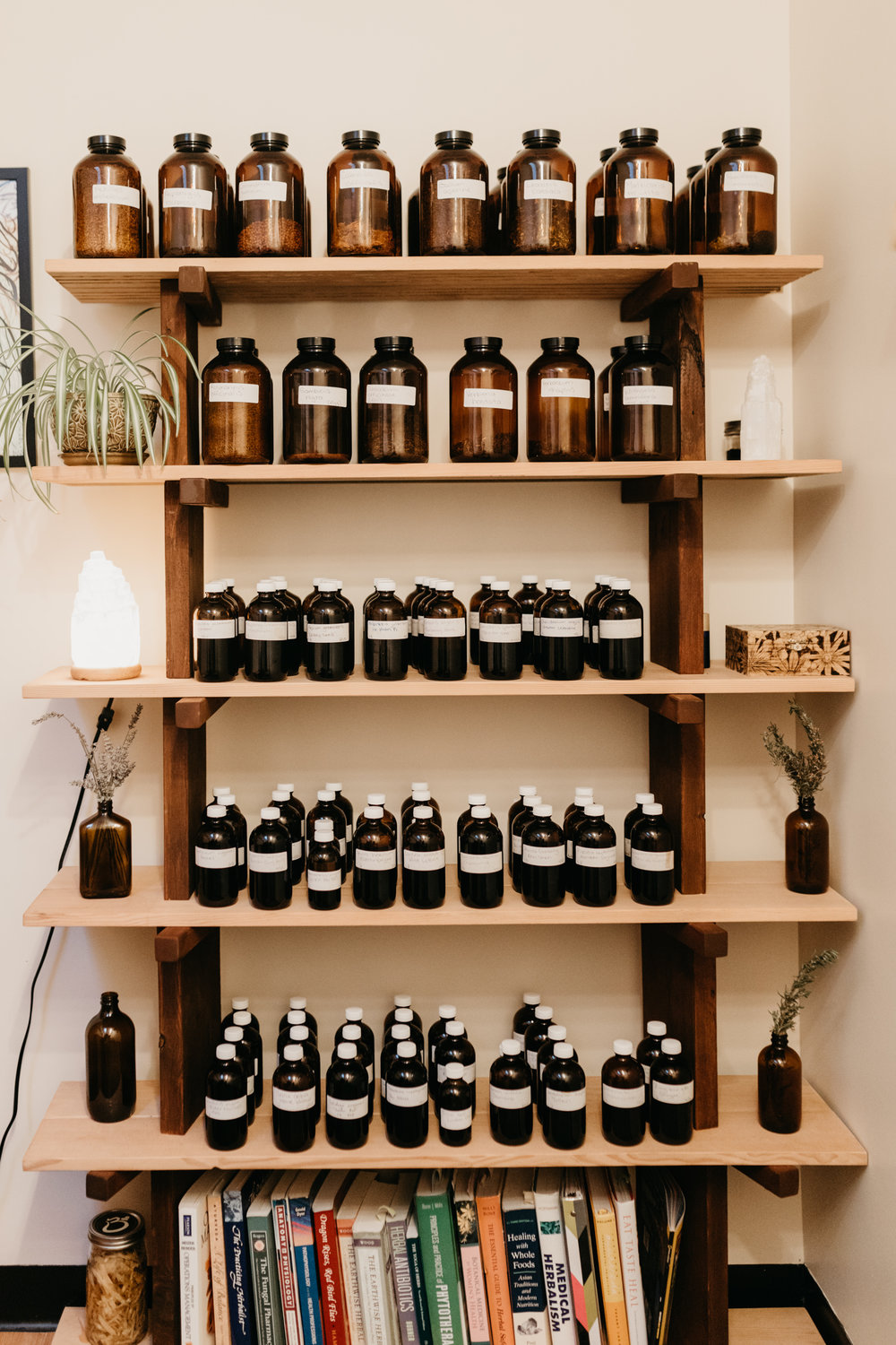 Shelf full of herbal medicine