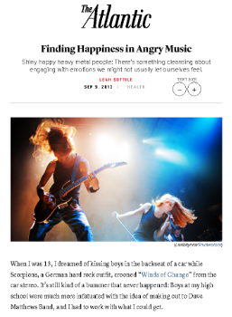 Finding Happiness In Angry Music    The Atlantic  September 9, 2013