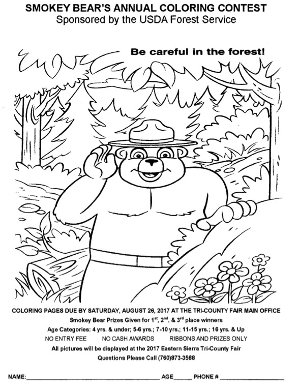 Tri-County Fairgrounds: Smokey Bear\'s Annual Coloring Contest ...