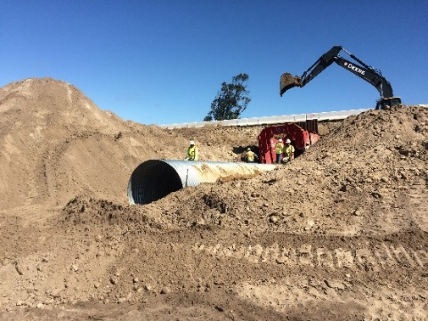 Installation of 6 new undercrossings along State Route 246 in Santa Barbara County will help protect endangered species, like the CA tiger salamander. It is scheduled for completion in the fall. Photo courtesy of Caltrans.