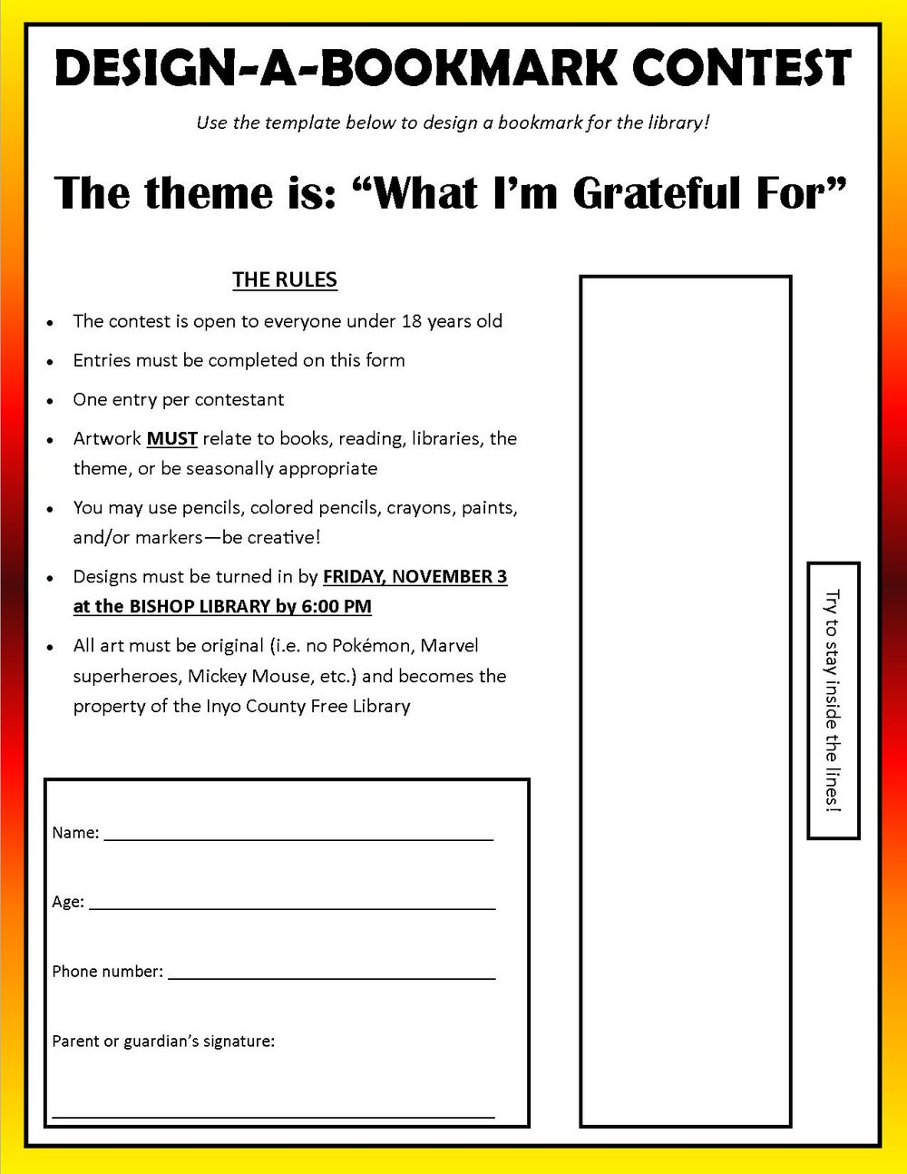Bookmark Contest Template Fall 2017  Contest Form Template
