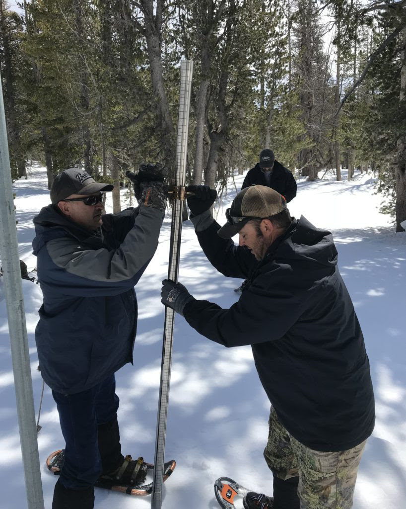 LADWP hydrographers conduct the last snow survey of 2018 on April 3.