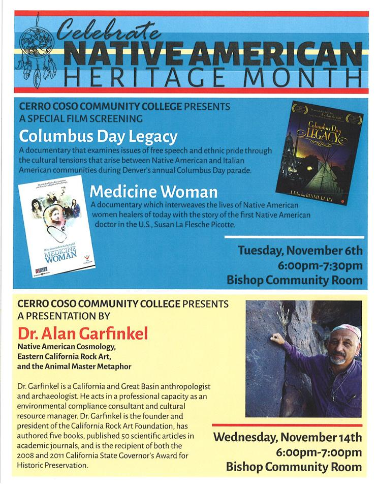 Columbus Day Film Events in Bishop for Native American Month @ Cerro Coso College   Bishop   California   United States