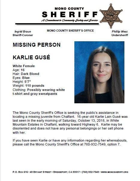 Mono County Sheriff: Missing Person — Blogging Bishop