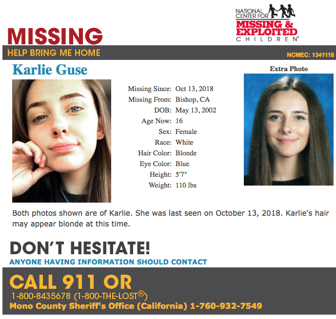 Missing & Exploited Children: Missing Karlie Guse — Blogging Bishop