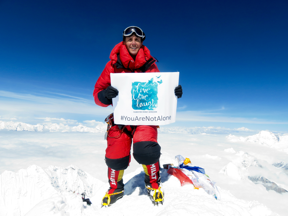 The Live Love Laugh Foundation at the summit of Mount Everest
