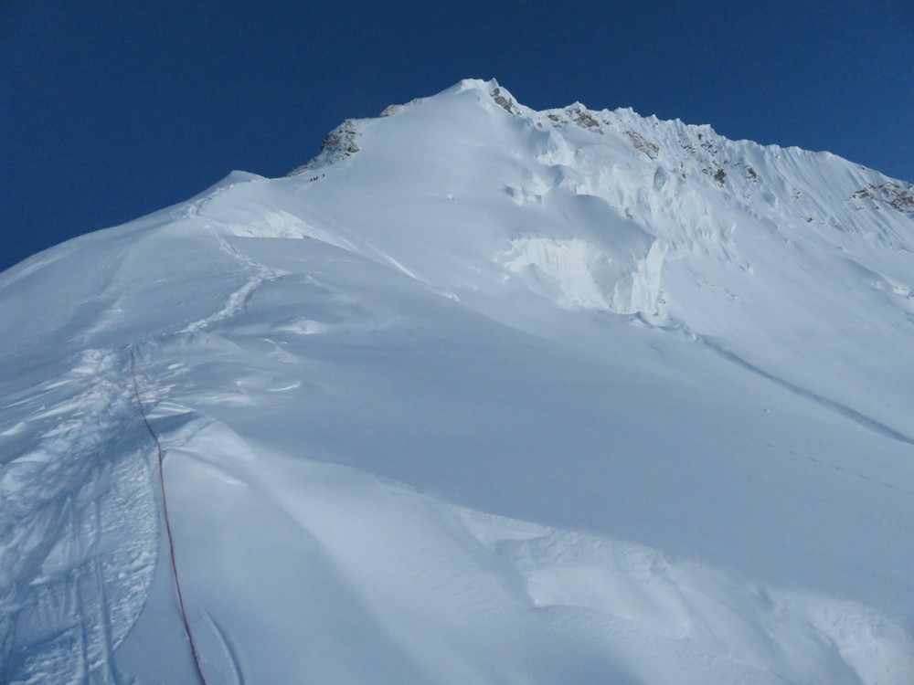 From the Balcony to the South Summit. You can see the other four climbers above us.