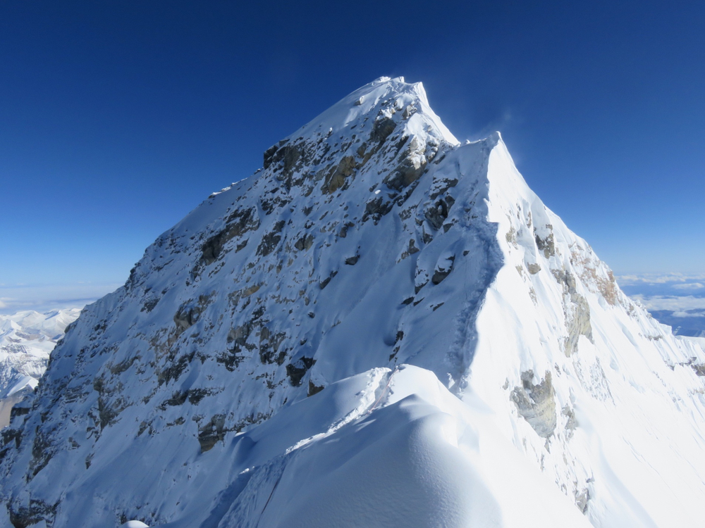 From the South Summit, the ridge towards the Hillary Step.