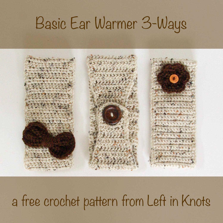 Basic Ear Warmer 3 Ways Free Crochet Pattern For Beginners Left